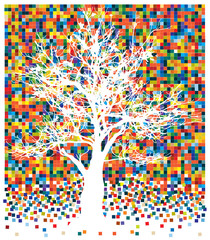 vector of white tree on squares