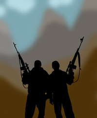 the silhouettes of two men with weapons