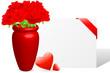Liebesbrief mit roten Rosen