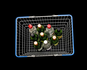 Bottles in shopping basket