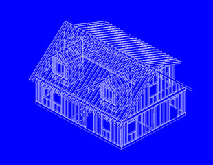 blue print style illustration of house frame SE view