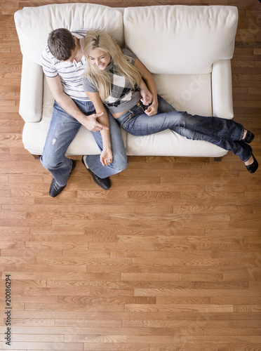 Overhead View of Couple on Love Seat