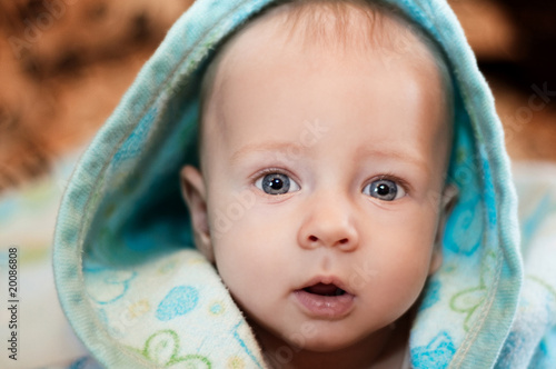 Portrait of a baby with blue eyes
