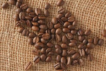 coffee beans on jute