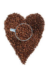 coffe beans background with heart