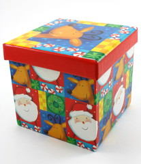 Christmas gift box, decor red on white background