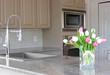 tulips in a modern grey kitchen