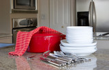 mealtime - casserole and dishes in modern kitchen