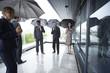 Businessteam with umbrellas