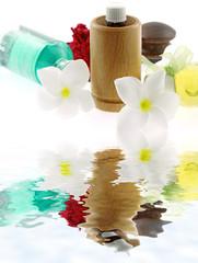 ambiance zen, spa, massage, aromathérapie, fond blanc