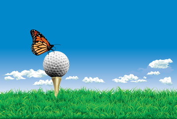 Vector. Golf ball with batterfly