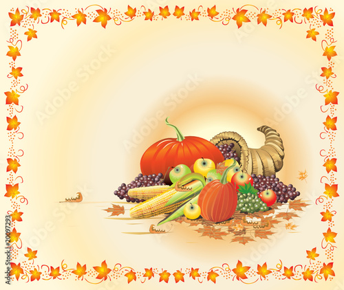 Vector. Hot and bright thanksgiving postcard