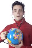 jeune homme soin stétoscope planète ozone poster