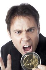 jeune homme d'affaire devise argent euro