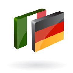 german italian translation button 3d vector