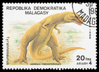 Dinosaur on a postage stamp