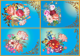 four flower designs on blue