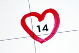 Mark February 14th (Valentine's Day) on the calendar poster
