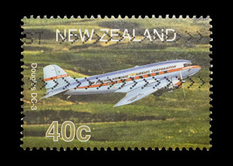 new zealand mail stamp featuring a Douglas DC3