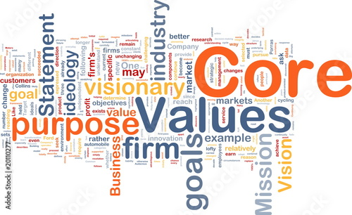 Core values background concept