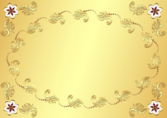 Gold Easter flower background (vector)