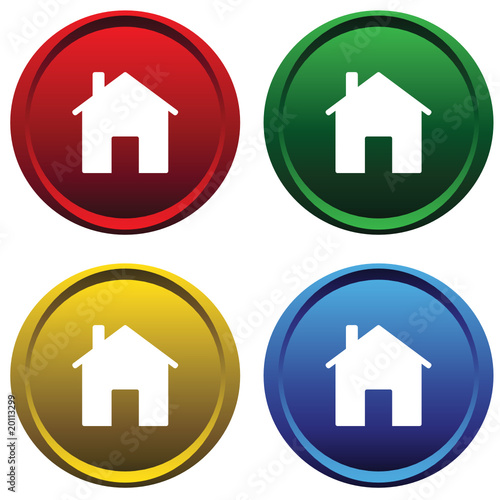 Two plastic buttons with the image of the house