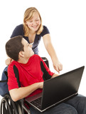 Disabled Teen and Friend on Computer poster