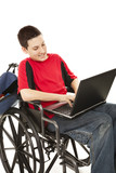 Disabled Teen Using Computer poster
