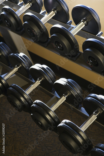 Rows of Hand Weights on Rack