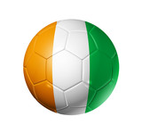 Soccer football ball with Ivory Coast flag poster