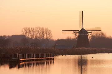 Dutch mill at sundown