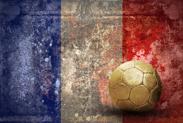 Grunge flag of France and ball