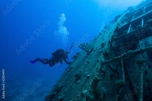 Scuba Diver around Wreck