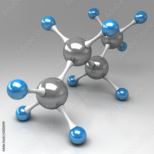 molecular model of butane on gray background
