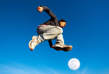 Single man made a powerful high jump