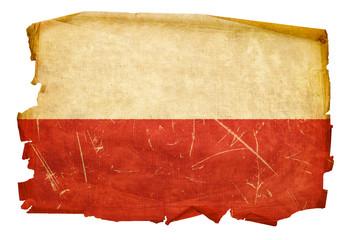 Poland Flag old, isolated on white background