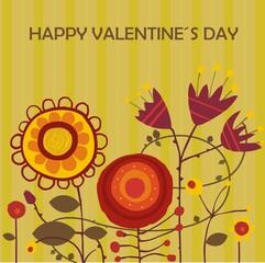postal con flores por san valentin