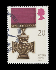 british mail stamp featuring the Victoria Cross gallantry medal