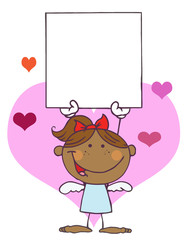Cartoon Stick African American Cupid Girl with Banner