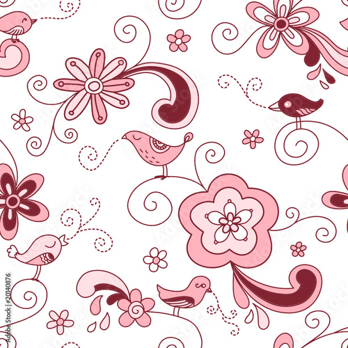 Birds Floral Seamless Pattern Red and Pink