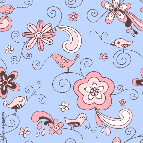 Birds Floral Seamless Pattern Red Pink and Blue