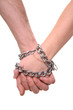 Hands connected by a chain