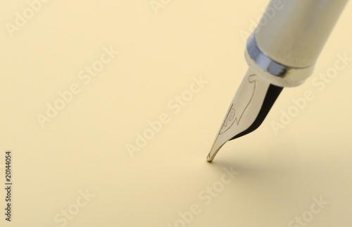 Silver fountain pen closeup