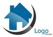 Logo maison arc bleu gris
