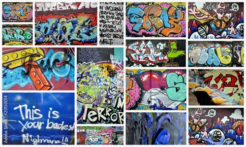 In de dag Graffiti collage graffiti