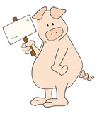 Fototapety Pig with white placard.