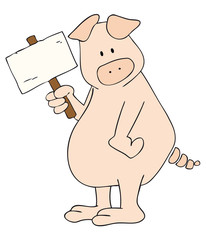Pig with white placard.