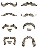 Set of hand drawn mustaches