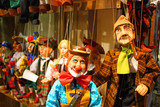 Traditional puppets - clown and old man poster