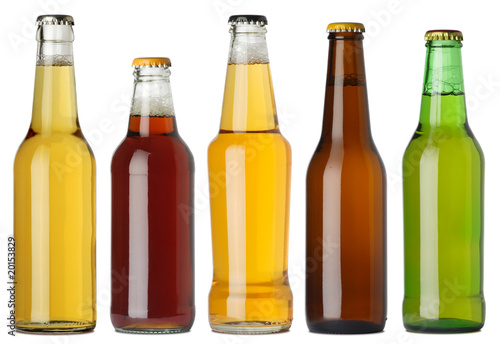 canvas print picture Blank beer bottles